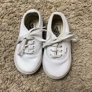 Toddler white leather vans